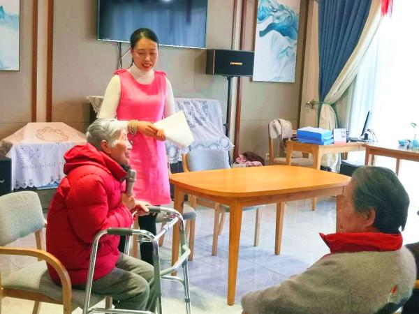 华阳养老院一暄康养迎新会上张奶奶讲话