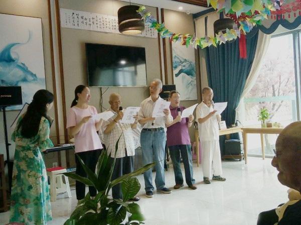 成都养老院|一暄康养为庆祝建党97周年举办红歌会|爷爷们的小合唱