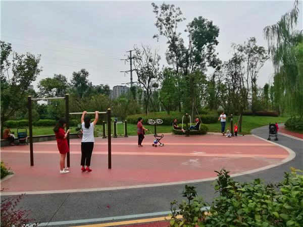 5-成都养老院一暄康养两河公园店对面300米外的摸底河公园,正在锻炼身体的市民