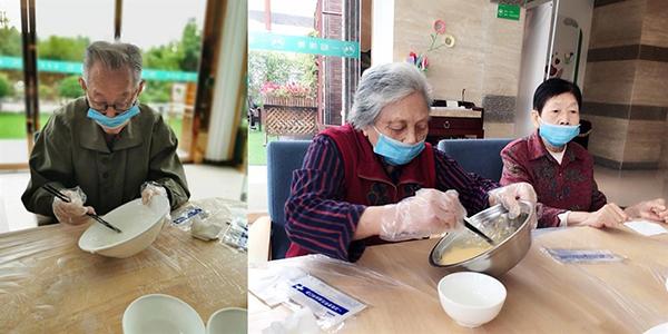 成都金牛养老院老人学习烘焙牛奶小蛋糕2
